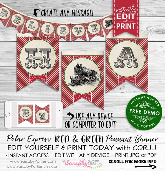 Polar Express Banner Red Instant Download Editable