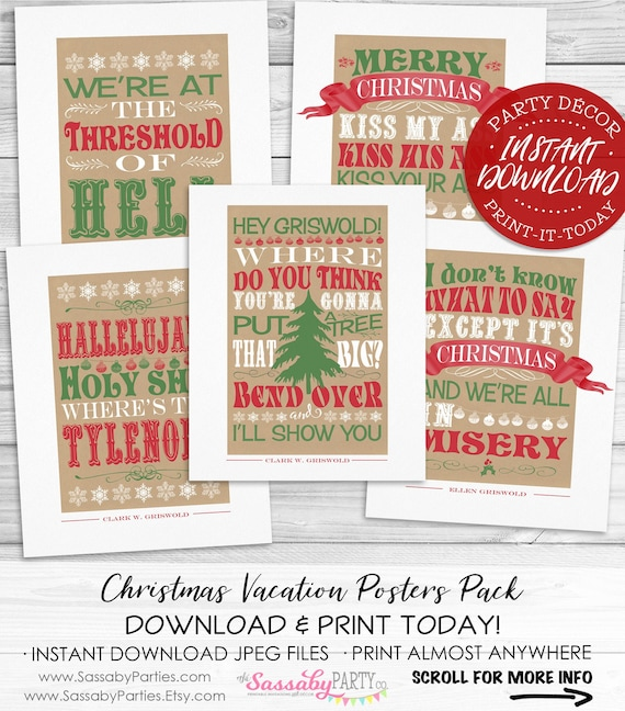 Quotes From Christmas Vacation.Christmas Vacation Poster Pack Instant Download Griswold