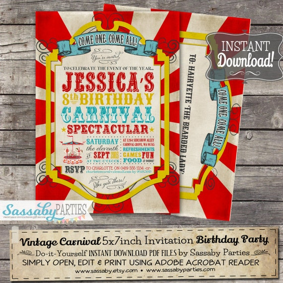 Vintage Carnival BIRTHDAY Invitation