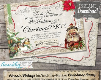 Classic Vintage Christmas Party Invitation - INSTANT DOWNLOAD - Partially Editable & Printable Traditional Elegant Christmas Family Invite