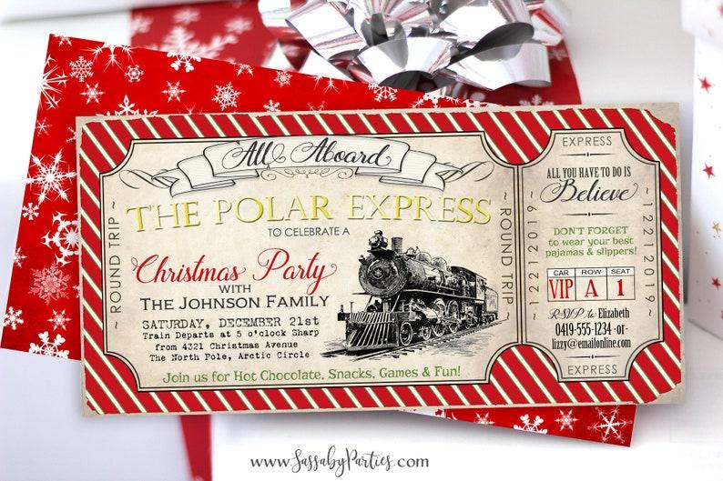 Polar Express Ticket Invitation INSTANT DOWNLOAD Partially ...