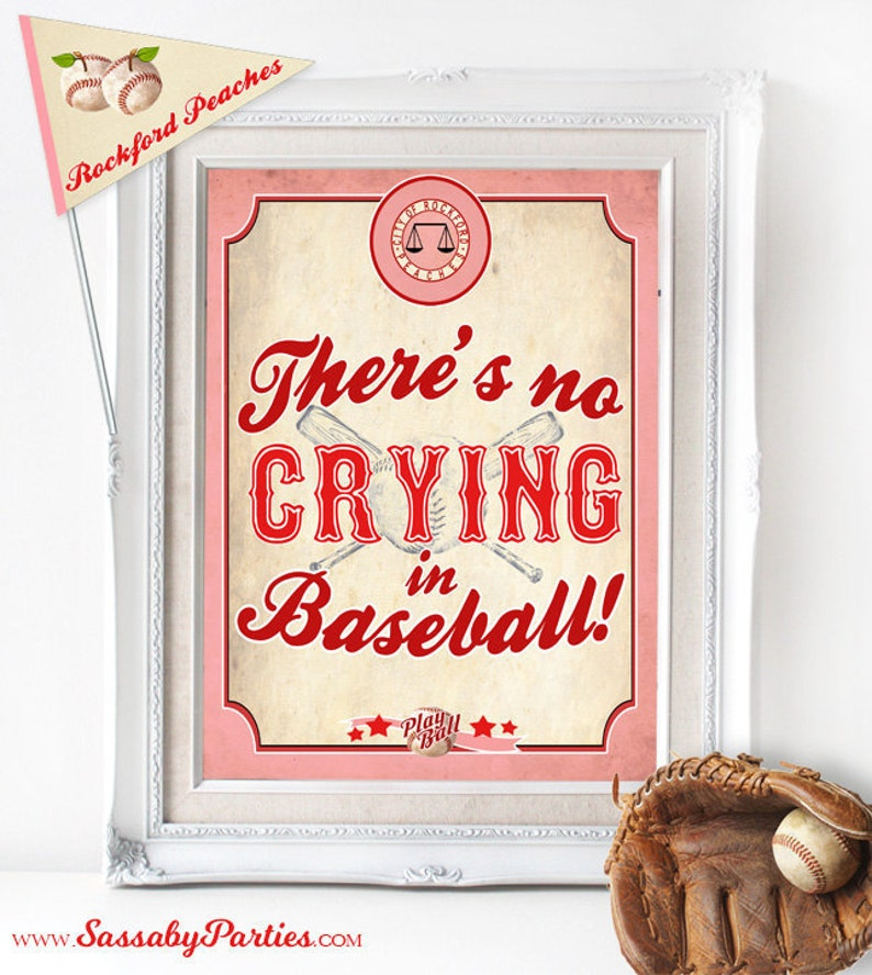 No Crying in Baseball Party Poster  INSTANT DOWNLOAD  image 0