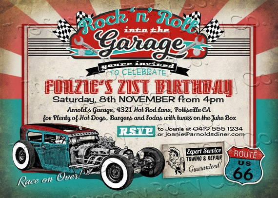 50s Garage Rock 'n' Roll Hot Rod Invitation - INSTANT DOWNLOAD - partially  Editable & Printable, Birthday Party Invite, Diner, Rockabilly