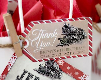 Polar Express Party Favor Thank You Tags - INSTANT DOWNLOAD - Editable & Printable Christmas Birthday Decorations by Sassaby Parties