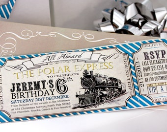 Polar Express BIRTHDAY Invitation - INSTANT DOWNLOAD - partially Editable & Printable Christmas Train Ticket Invites by Sassaby Parties