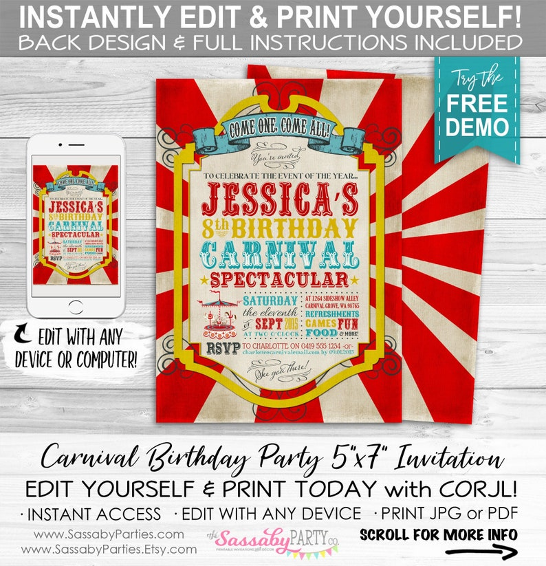 Vintage Carnival Invitation  INSTANT DOWNLOAD  Edit & Print image 0