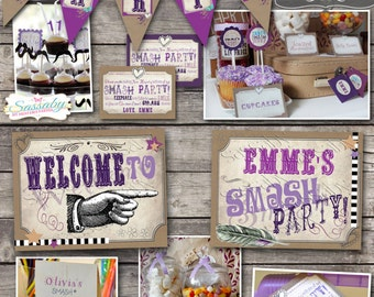 Smash Party Collection - INSTANT DOWNLOAD - Editable & Printable Scrapbooking, Art, Journal Making, Birthday Decorations by Sassaby Parties