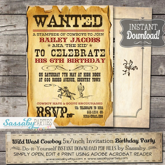 Wild West Cowboy Party Invitation Instant Download Partially