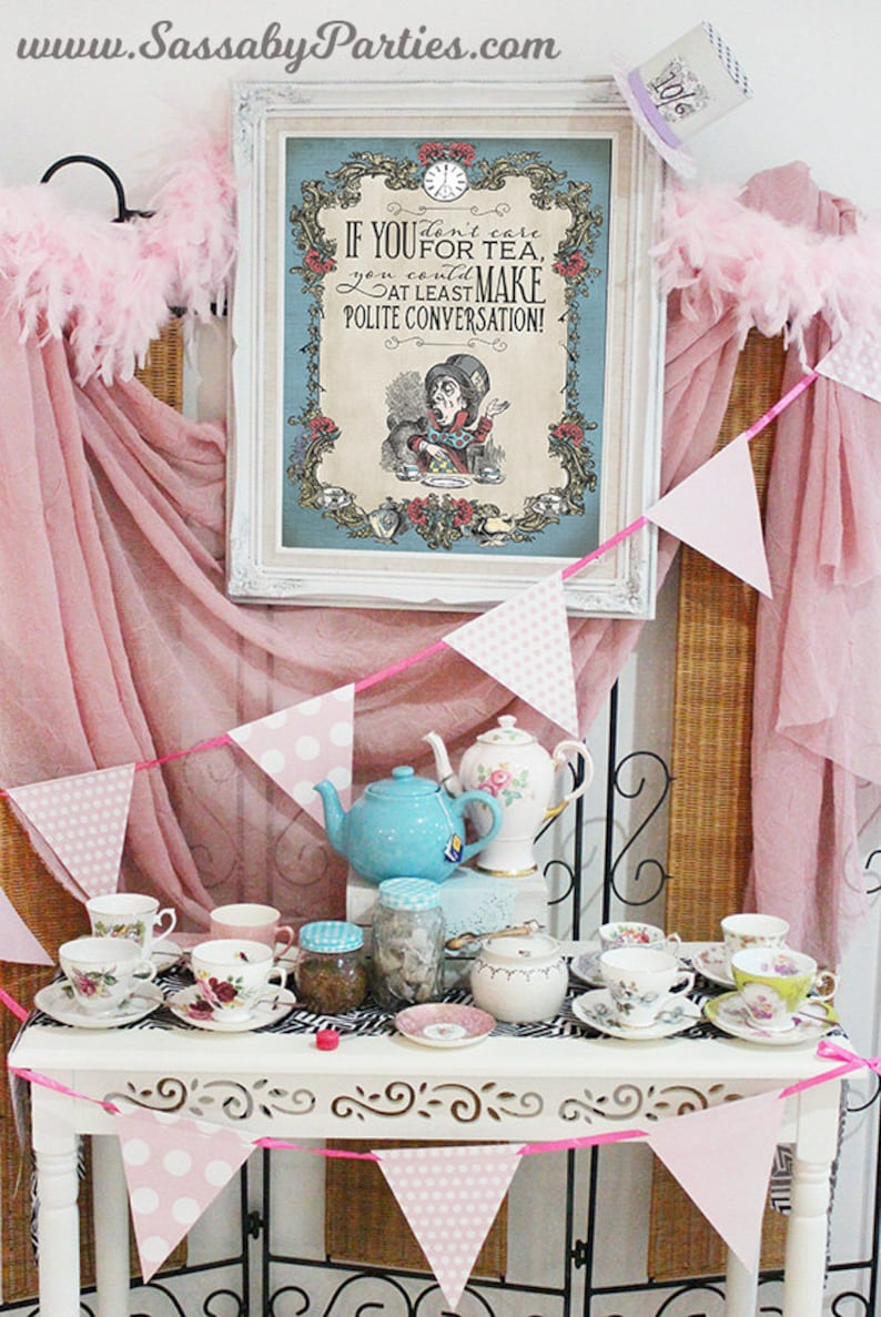 Mad Hatter Tea Party Poster  INSTANT DOWNLOAD  Alice in image 0