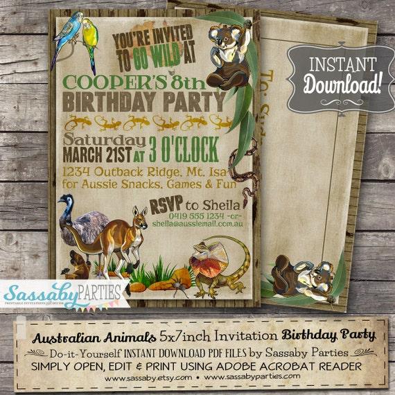 Image of: Vector Australian Animals Birthday Invitation Instant Download Partially Editable Printable Kangaroo Koala Party Invite By Sassaby Parties Etsy Australian Animals Birthday Invitation Instant Download Etsy