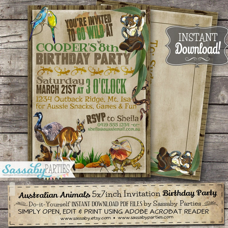 Australian Animals Birthday Invitation