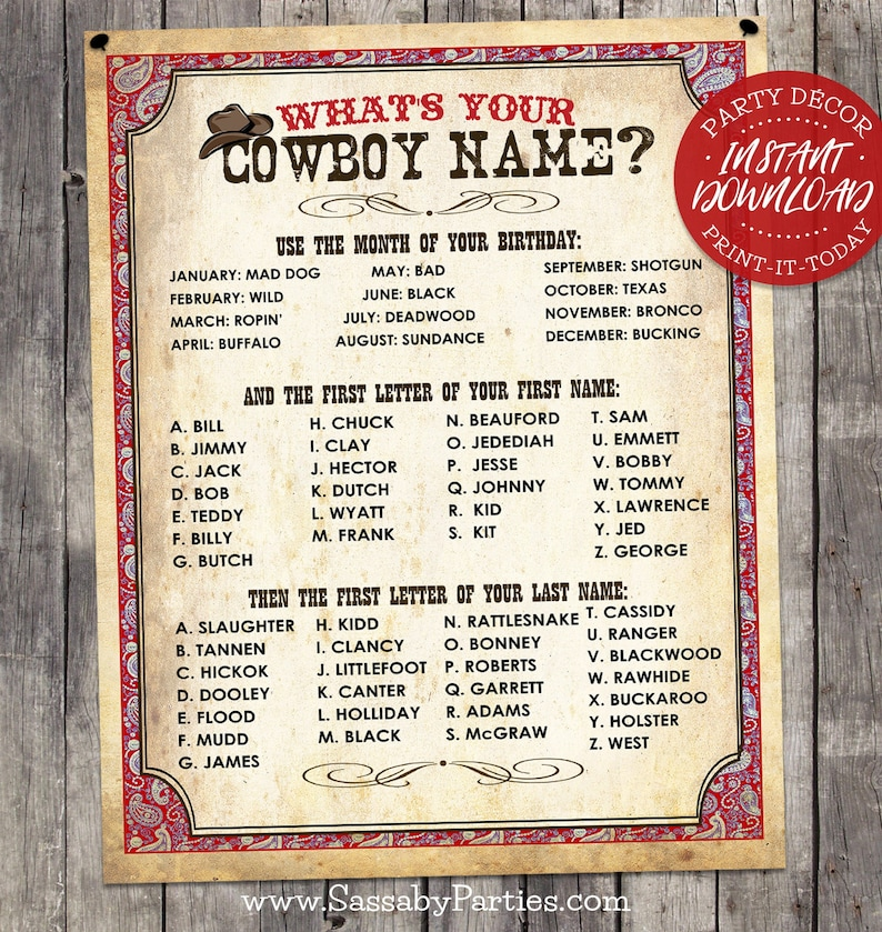 Wild West Cowboy Name Poster RED  INSTANT DOWNLOAD  image 0