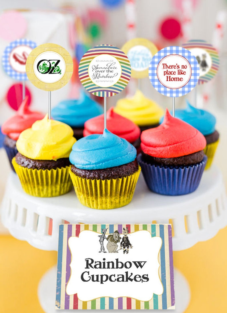 Wizard Of Oz Party Circles Cupcake Toppers Instant Download Etsy