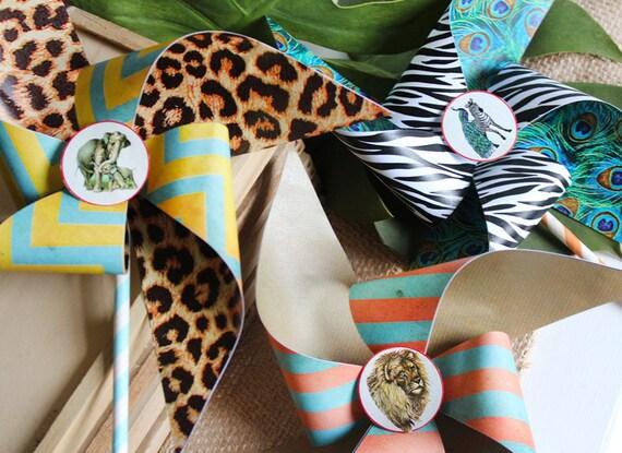 Vintage Zoo Pinwheels Templates