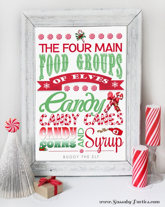 Christmas Candy Buddy Elf Poster Instant Download Art Print