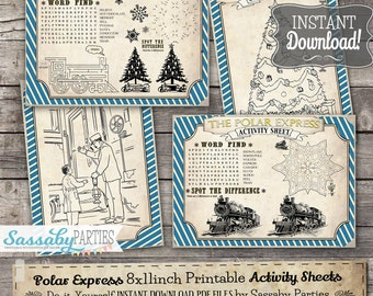 Polar Express Activity Sheets - INSTANT DOWNLOAD - Printable Christmas Party, Fun, Games, Activities Decorations by Sassaby Parties