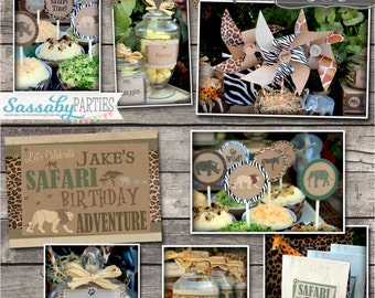 Safari Party Collection - INSTANT DOWNLOAD - Editable & Printable African Jungle Safari Birthday Decorations by Sassaby Parties