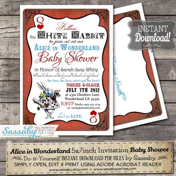 Alice In Wonderland Baby Shower Invitation Instant Download Etsy