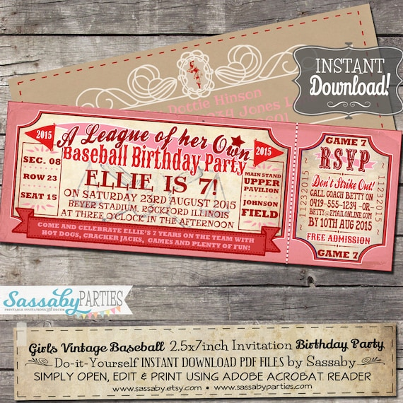 Vintage Girls Baseball BIRTHDAY Invitation