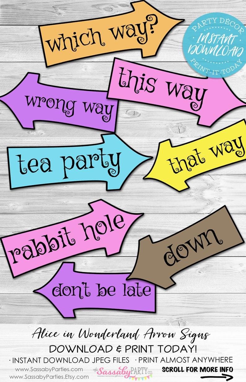 Alice in Wonderland Arrow Signs  INSTANT DOWNLOAD  Mad image 0