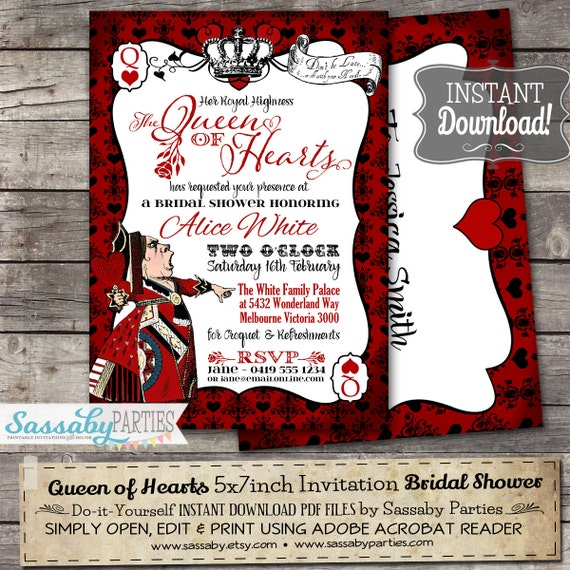 queen of hearts invitation instant download partially editable