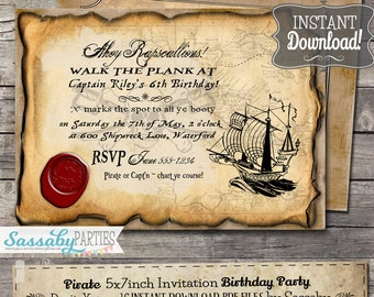 Pirate Birthday Party Invitation - INSTANT DOWNLOAD - Partially Editable & Printable Invite by Sassaby Parties