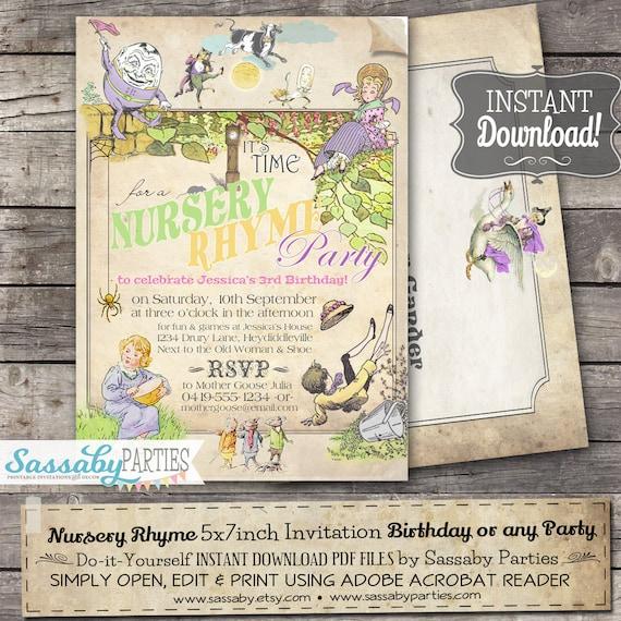 Nursery Rhyme Pastel Invitation