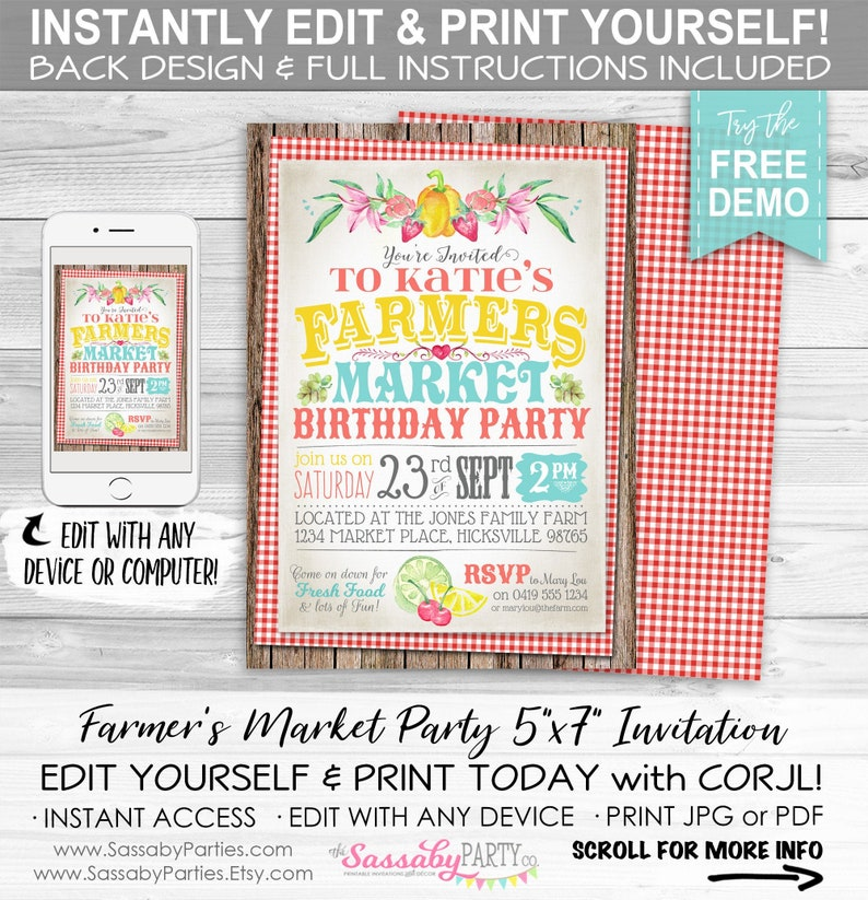 Farmers Market Invitation  INSTANT DOWNLOAD  partially image 0