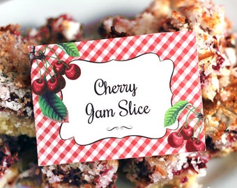 Very Cherry Party Labels - INSTANT DOWNLOAD - Editable & Printable Birthday Party / Baby / Bridal Shower Decorations by Sassaby Parties
