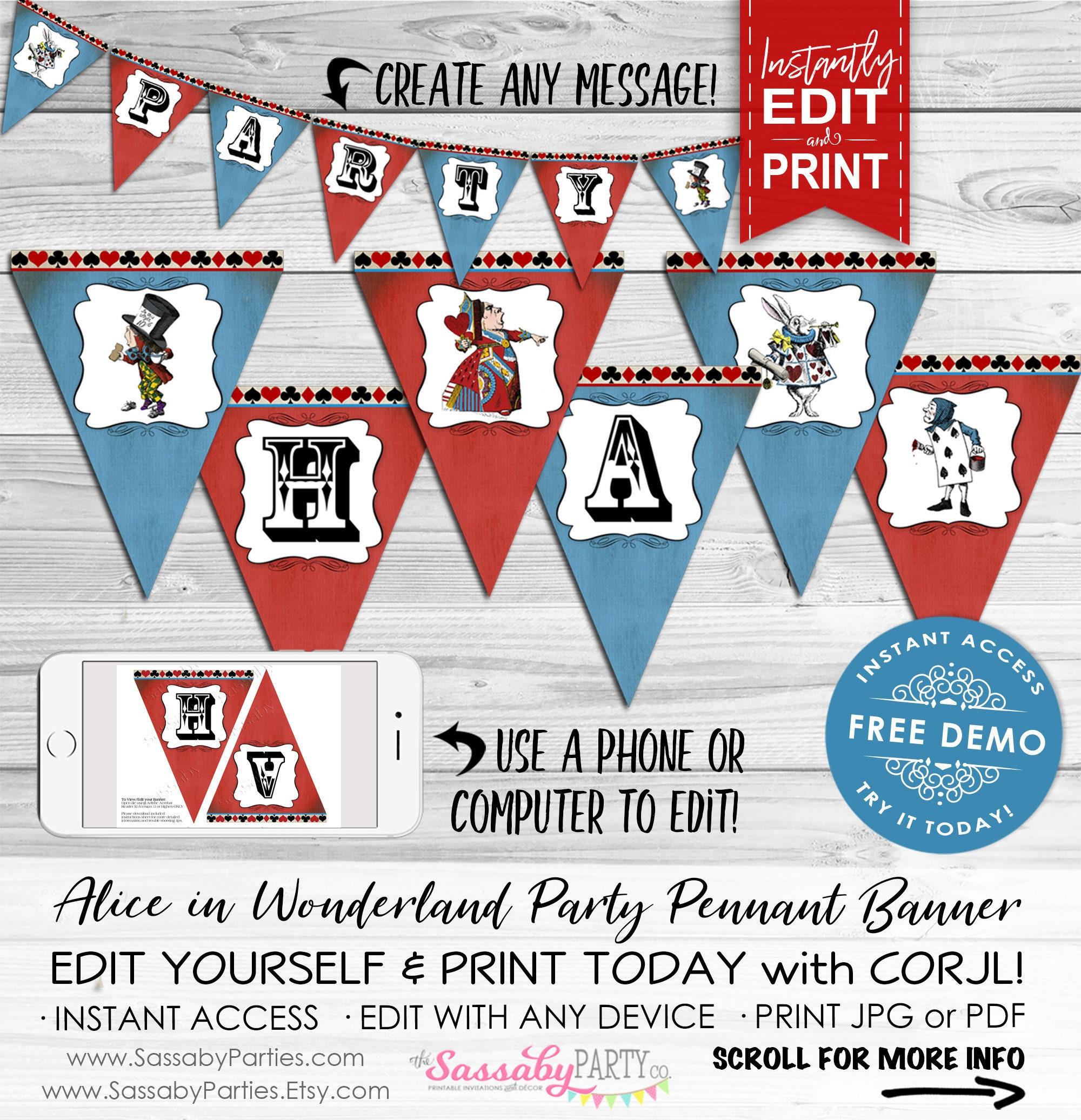 Alice In Wonderland Party Banner Instant Download Editable Etsy
