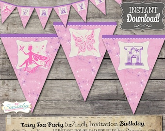 Fairy Party Banner - INSTANT DOWNLOAD - Editable & Printable Birthday Decorations, Decor, Bunting by Sassaby Parties