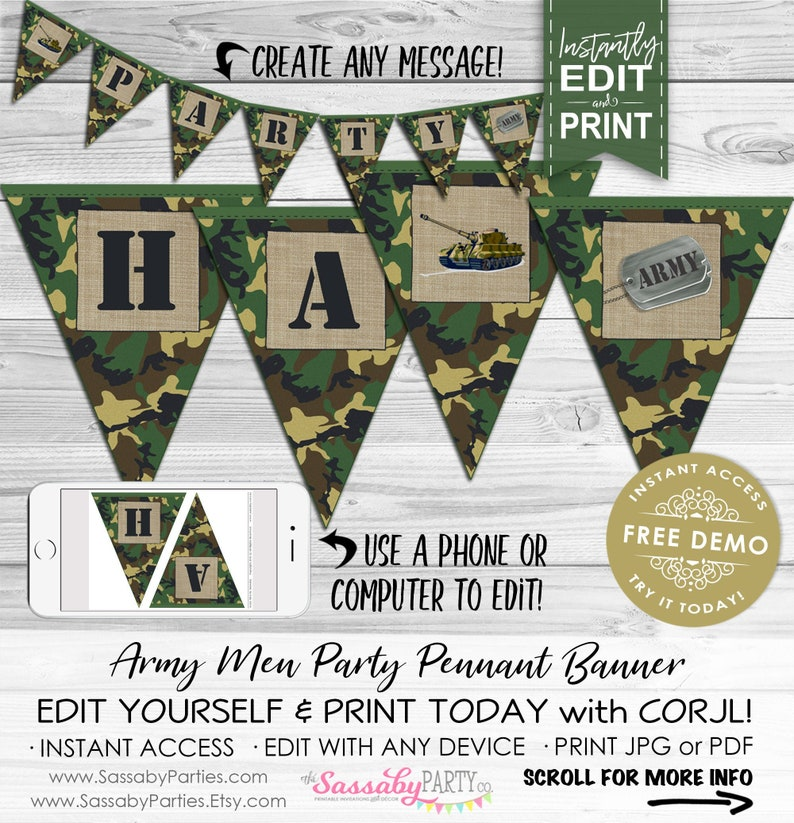 Army Men Party Banner  INSTANT DOWNLOAD  Editable & image 0