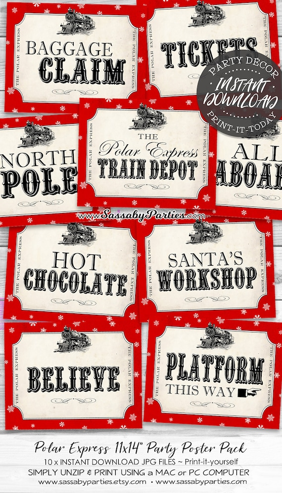 photo relating to Printable Polar Express Ticket titled Polar Categorical Get together Signs or symptoms - Prompt Obtain - Printable