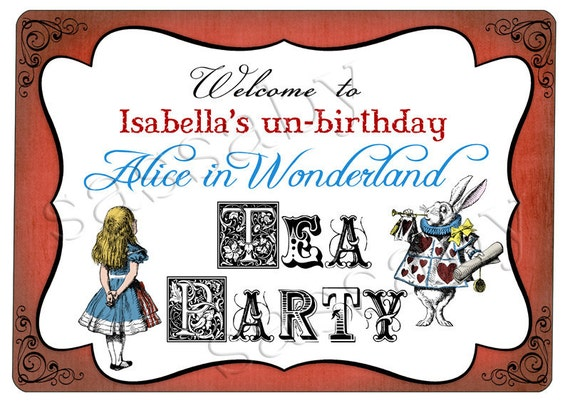 Alice In Wonderland Party Sign Instant Download Editable
