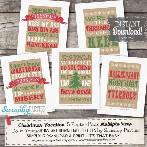 Christmas Vacation Poster Pack Instant Download Griswold Etsy