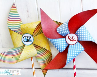 Wizard of Oz Pinwheels - INSTANT DOWNLOAD - Printable Birthday Party Decor, Template, Decorations by Sassaby Parties