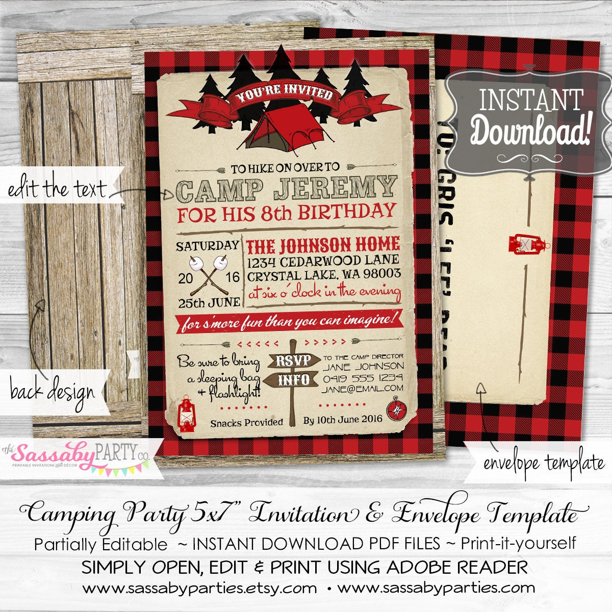 Camping Party Invitation INSTANT DOWNLOAD Partially | Etsy