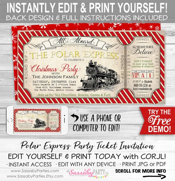 photograph regarding Printable Polar Express Ticket identify Polar Categorical Ticket Invitation - Fast Down load