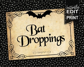 Halloween Party Labels - INSTANT DOWNLOAD - Editable & Printable Vintage Style, Harry Potter, Hogwarts, Party Decorations, Decor, Bat, Witch