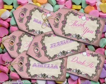 Alice in Wonderland Pastel Party Thank you Tags - INSTANT DOWNLOAD - DIY Editable & Printable Birthday Decorations by Sassaby Parties