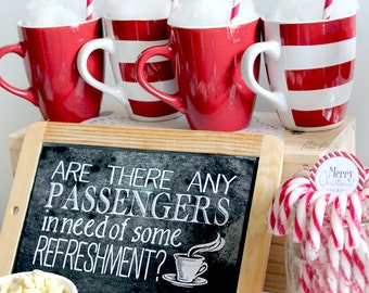Polar Express Poster Refreshments Chalkboard Style - INSTANT DOWNLOAD - Printable Birthday Christmas Party Sign by Sassaby