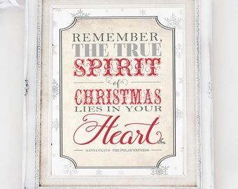 Spirit of Christmas Polar Express Poster - INSTANT DOWNLOAD - Printable Christmas Sign, Decor, Art Print, Decorations by Sassaby Parties
