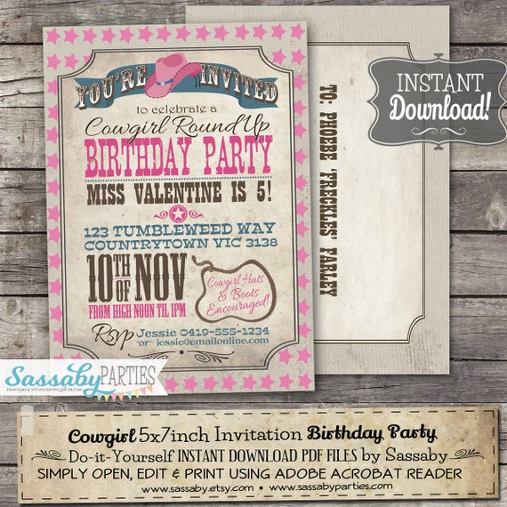 cowgirl invitation instant download partially editable
