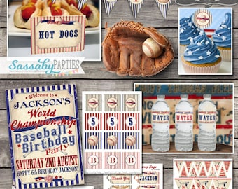 Vintage Baseball BIRTHDAY Party Collection - INSTANT DOWNLOAD - Editable & Printable Boys Party Decorations by Sassaby Parties