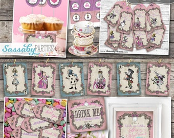 Alice in Wonderland Party Collection - INSTANT DOWNLOAD - Partially editable Tea Party Birthday Party Invitation and Decorations
