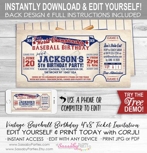 image regarding Free Printable Baseball Birthday Invitations named Traditional Baseball BIRTHDAY Invitation - Immediate Down load