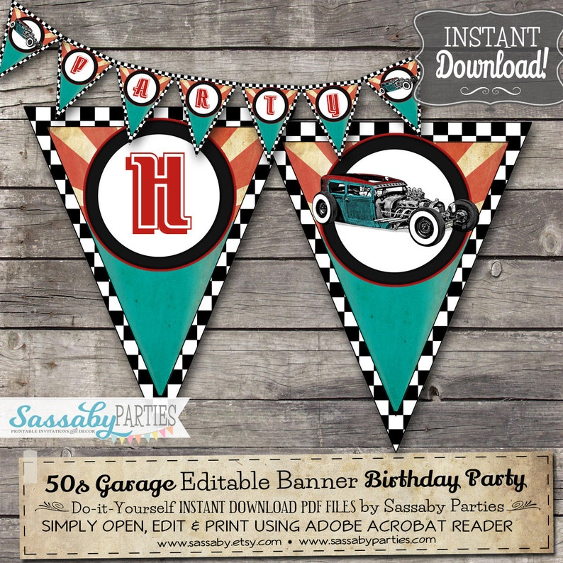 50s Garage Party Banner Rock N Roll INSTANT DOWNLOAD