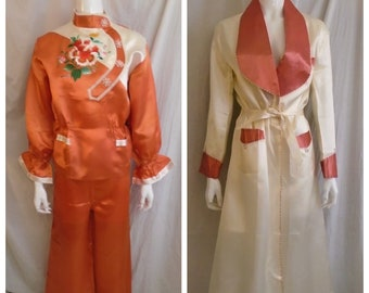 407956a05aa3 Vintage 1950s Pajamas Robe and Slippers Set New in Box Asian Embroidery  Orange and White