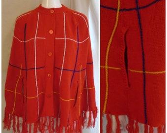 Vintage 1970s Poncho Red Fringed Acrylic Yarn Poncho One Size Hippie
