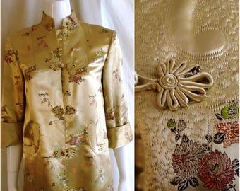 1940s Vintage Silk Brocade Coat Gold/Multi Long Evening Jacket Asian Design Medium